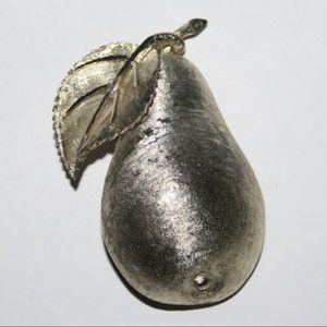 Vintage gold pear brooch